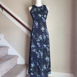 Navy Floral Strapless Maxi Dress, size 6